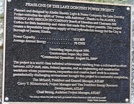 Lake Dorothy Dedication Plaque